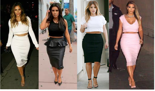 Kim's Look: Pencil skirts and crop tops