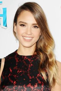 Jessica Alba with balayage highlights. Photo from Harpers Bazaar.