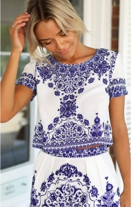 2015-Vestido-New-Summer-Digital-Print-Vintage-Patterned-Women-Clothing-Blue-White-Crop-Top-And-Shorts