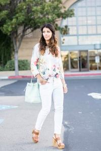 White-pants-floral-top